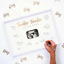 Twinkle Twinkle Baby Shower Guest Book Sign Wood Frame Alternative Gender Reveal