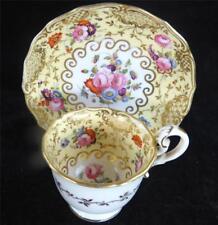 C1830 ANTIQUE COALPORT PORCELAIN 'No. 7' COFFEE CUP & SAUCER FLOWERS YELLOW g