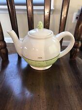 "Rae Dunn Polka dot Green spring ""Pour."" teapot"