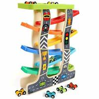 Lewo Car Ramp Toys with 8 Mini Cars Click Clack Racing Track with Parking Lot