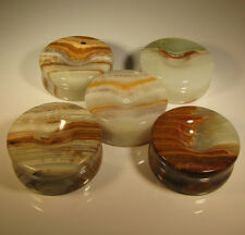 "(5) 2"" Carved BANDED ONYX STANDS for Spheres, Eggs, Balls, Globes, etc."