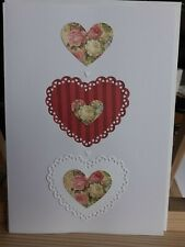 """Hand Made Card Floral-Heart-Red 7"""" x 5"""" 3 Hearts"""