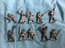 OOP Citadel 1980's Warhammer metal Wood Elf warriors x 10 incl. champion Lot C