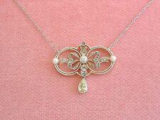 ANTIQUE EDWARDIAN .78ctw DIAMOND YELLOW PEAR DROP PEARL PENDANT NECKLACE 1910