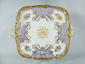 Antique Coalport Lilac Batwing Twin Handled Cake Serving Square Plate Dish Y2665