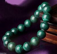 8MM Unisex Natural Malachite Stone Round Beads Stretch Bangle Bracelet Handmade