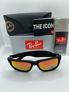 Ray-Ban Justin RB4165 Black Frame Sunglasses with Red Mirror Polarised Lenses