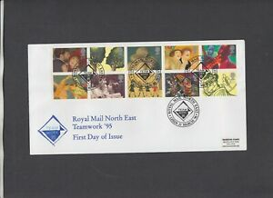 1995 Greetings Royal Mail North East Team Work 95 Leeds Official FDC. Cat £25