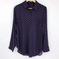 Talbots Long Roll Tab Sleeve Button Up Shirt Blouse Navy Blue Pink Polka Dot M