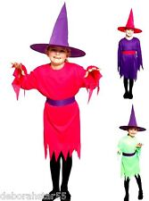 Girls Witch Costume Budget Halloween Fancy Dress & Hat  3 Sizes 4-12 yrs
