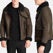 NWT Coach Shearling Bomber Jacket Military Green Mens Size Small S Leather $1995