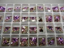 12 preciosa square rhinestones, 12x12mm crystal vitrail light