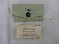 US ARMY WW2 Verbandpäckchen Koppel Tasche First Aid Kit pouch + Field dressing