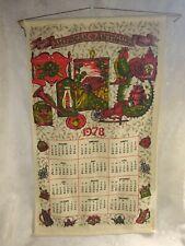 Vintage 1978 Linen Cloth Fabric Tea Towel Wall Calendar American Antiques