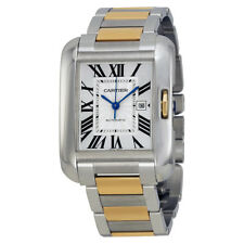 Cartier Tank Anglaise Silver Dial Steel and 18kt Yellow Gold Ladies Watch