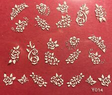 Nail Art 3D Decal Stickers White Roses Flowers Y014