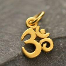 24K Gold Plated Tiny Ohm Om Charm Yoga Jewelry Spiritual Buddhism Pendant G1325