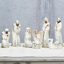 "Roman 8pc Set 8.25""Holy Family Jesus Angel Nativity Porcelain Lace Design 33822"