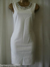 NEW £45 ***SALE*** JANE NORMAN SIZE 10, WHITE DIAMANTE TRIM BODYCON DRESS