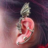 1/2X Gothic Punk Temptation Metal Dragon Bite Ear Cuff Wrap Clip Earring HGUK