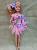 BARBIE DOLL SISTER STACIE WEARING PINK PRINCESS FAIRY CLOTHES HOLDING A FLOWER