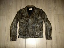 H&M FASHION AGAINST AIDS SOFT DISTRESSED LEATHER BIKER BOMBER JACKET M SLIM