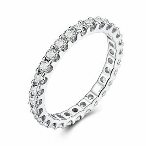 Flawless 1.2ct Cubic Zirconia Engagement Band Ring 18K White Gold Fine Jewellery