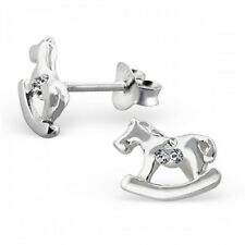 Earrings 10x8mm & Gift Box #17 925 Sterling Silver Rocking Horse Pony Stud