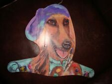 Collectible Afghan Hound Artist w/Beanie & Paint Palate Plywood w/Hanging Hook