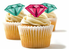✿ 24 Edible Rice Paper Cup Cake Toppings, decorations - Diamonds ✿