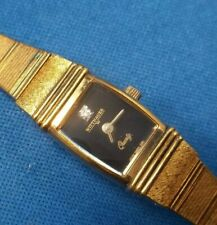 "WITTNAUER AS-1737 WOMEN""S DIAMOND SWISS WRISTWATCH BLACK DIAL ON TRIPLE GOLD"