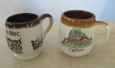 Vintage Collectible Stoneware Cream Brown Quebec Canda Mugs Pottery
