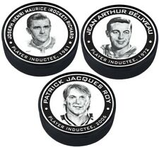 Montreal Canadiens 3D Textured Hall of Fame Pucks - Roy, Richard & Beiveau