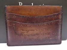 Authentic Berluti Leather Calligraphy Pass Case Card Case ID Holder Brown U657