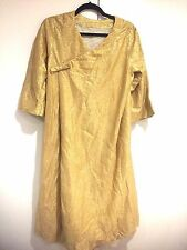 Vintage Gold Dress M/L Rare Beautiful Textured Lined 34/ Sleeve