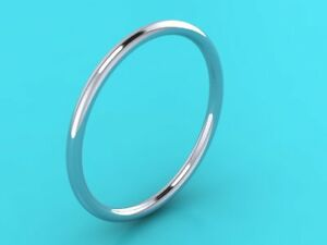 1mm PLATINUM 950 wedding ring band Hatton Garden Hand made Halo stacking ring