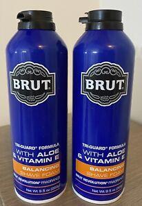 2x Brut Balancing Shave Foam Brut Revolution Tri-Guard DISCONTINUED 9.5 oz each