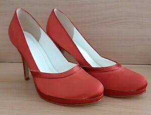 Else Womans Rust/Orange Platformed High Heeled Stiletto Court Shoes - Size 7 uk