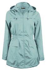 New Ladies Plain Parka Mac Raincoat Hooded Fishtail Parka Jacket Coat 8-24