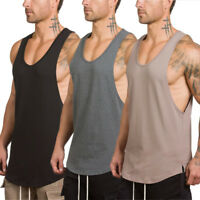 Men's Fitted Muscle Cut Workout Tank Tops Gym Bodybuilding Fitness T-Shirts