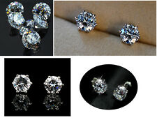 8mm round clear 18K genuine gold exquisite Cubic Zirconia wedding stud earring