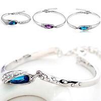 Fashion Women Silver Plated Crystal Chain Bangle Cuff Charm Bracelet Jewelry PK