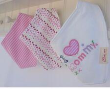 Bandana Bibs dribble girls I Love Mummy 3 pcs Baby/Toddler pink flower