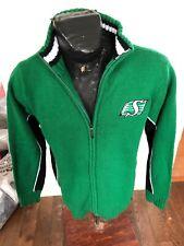MENS Medium CFL Football Zip Front Knit Sweater Saskatchewan Roughriders NEW NWT