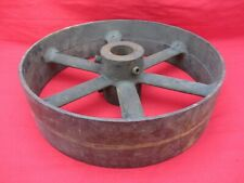 Vtg Antique Cast Iron 12 Flat Belt Pulley Line Shaft Gas Hit Miss Engine 3 Drive