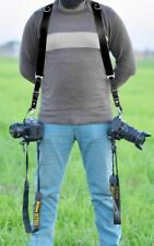 Genuine Premium Black Buffalo Leather Dual Multi Camera Harness Shoulder Strap