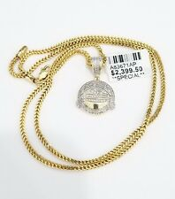Yellow Gold Diamond Smile Laughing Crying Emoji Face Pendant 20 Inch Fraco Chain