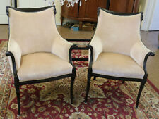 Elegant Pair Grosfeld House Draper Style Carved French Swag Bergere Club Chairs