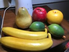 7 Vintage Lifelike Decorative Plastic Artificial Fruit Banana Lime Apples Pear