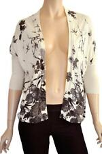 WAREHOUSE SZ 10 WOMENS Cream Floral Open Front Dolman Sleeve Stretch Cardigan